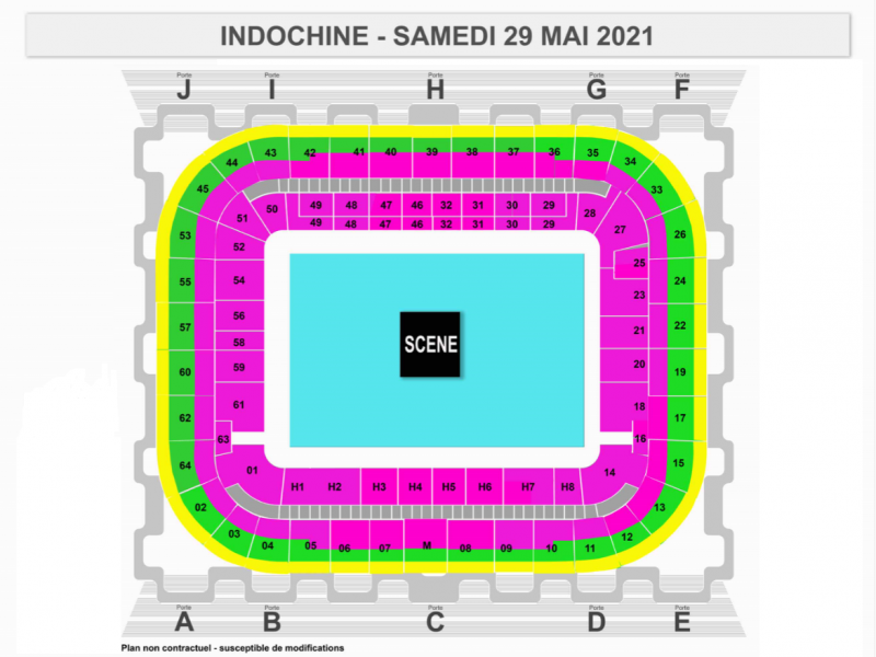 Plan billetterie Indochine - Bordeaux - Matmut ATLANTIQUE - 29 mai 2021